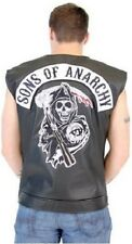 Sons Of Anarchy in Finta pelle Nera Highway Mietitore Patch Biker Canotta S-4XL
