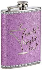 Premier Housewares Girls Night Out Glitter Hip Flask Set, 8 oz - Hot Pink