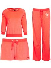 Womens Neon South Beach Tracksuit Sweatshirt Joggers Shorts Ladies Size UK 6-16