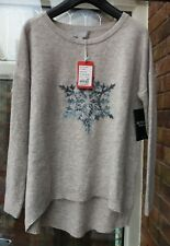 BNWT PURE Collection Grey Dipped Hem Knit Sweater Jumper UK10 12 rrp£85