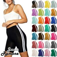 Womens Side Stripe Active Gym Sport Biker Stretchy Pants Summer Cycling Shorts