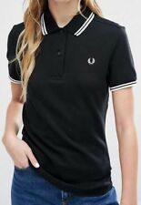 Fred Perry Twin Tipped Polo Shirt - Womens - Black and White - 8 Small