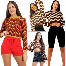 Ladies Jumpers Womens Chevron Zig Zag Long Sleeves Striped Knitted Crop Tops New