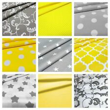 new grey or yellow 100% cotton fabric stars polka dots triangle geometric