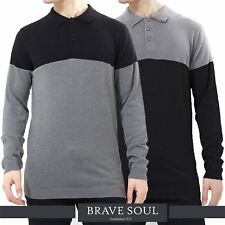 Mens Brave Soul Knitted Polo Neck Colour Block Buttoned Winter Jumper Sweater