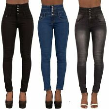 Women's Black High Waist Skinny Jeans Ladies Slim Fit Jeans Size 8-16