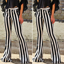 Lady Trousers Pants Casual Black White Striped High Waist Long Elastic Spring