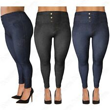 NEW PLUS SIZE LADIES HIGH WAISTED BUTTON LEGGINGS WOMEN JEGGINGS DENIM JEAN LOOK