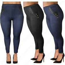 PLUS SIZE LADIES HIGH WAIST PU POCKETS LEGGINGS WOMENS JEGGINGS DENIM JEAN LOOK