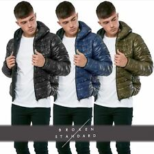 Mens Shiny Glossy Padded Quilted Hooded Puffer Jacket Warm Winter Bubble Coat