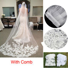 White Ivory 3M 1T Wedding Cathedral Applique Edge Lace Long Bridal Veils Comb CO