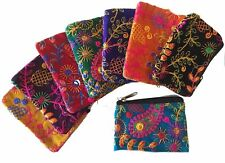 Pretty Embroidered Coin Purse Wallet Multi Velvet Cotton Zip Money Small Card