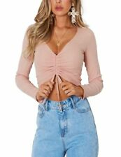 Pink V Neck Stretch Fitted Ribbed Cinched Lace Up Crop Cropped Top