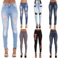 Womens Ladies Ripped Skinny Fit Jeans Stretchy Denim Pants Size 6 8 10 12 14 16