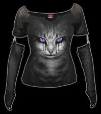 Red Camisa con Gato - Cat's Tears - Spiral Gothic Mujer Camiseta Camisa Blusa