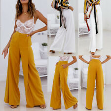 Womens Office Loose Stretch High Waist Wide Leg Long Pants Palazzo Trousers NEW