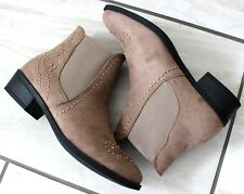 New Womens Brown Faux Suede Flat Ankle Boots Casual Comfy Pull On Shoes Sizes