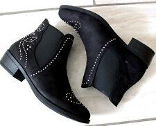 New Womens Black Faux Suede Flat Ankle Boots Casual Comfy Pull On Shoes Sizes