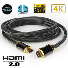10FT Braided Ultra HD HDMI Cable 2160p@60Hz High Speed+ Ethernet HDTV 4K 3D GOLD