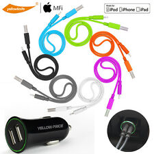 Tangle-Free Lightning USB Cable for iPhone 7 6s iPad & Fast Charging Car Charger