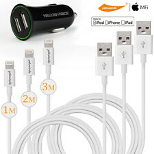 3x MFI Lightning Sync USB Charging Cable for iPhone 7 6 Plus 2-Ports Car Charger