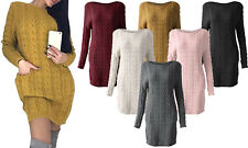 NEW WOMENS CABLE KNIT JUMPER DRESS WITH POCKETS LADIES LONG WARM SWEATER TOP