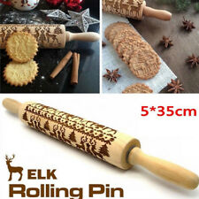CHRISTMAS EMBOSSING ROLLING PIN BAKING COOKIES BISCUIT ENGRAVED DOUGH ROLLER KIN