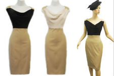 New Retro Vtg 1950's Beige Black Cowl Neck Pencil Wiggle Office Work Dress