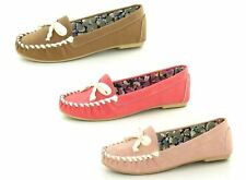 Ladies Spot On Flat Moccasin Loafer Shoes with Bow Trim Label F8R968