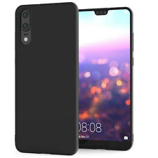 For Huawei P20 Black New Ultra Slim Soft Silicone TPU Matte Back Case Cover UK