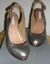Metallic Silver HIGH HEELS SHOES Party Prom Heels Shoes leather RRP £85 NEW