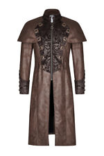 Coat steampunk brown falsely leather man with rivets and reasons baro Punk Rave