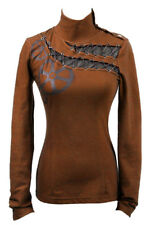 Top brown with lacing and gears black Punk rave t-362 Punk rave