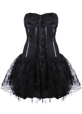 Dress corset black with patterns flowers sling Pentagramme