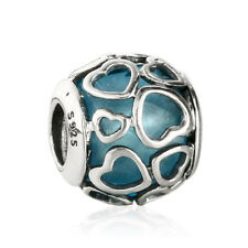 New Sky Blue Crystal Charm Originale Charm Argento S925 in Love Hearts Beads