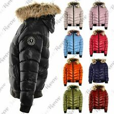 New Womens Fur Hooded Padded Quilted Badge Puffer Bomber Shiny Jacket Warm Coat