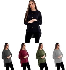 Ladies Front Button Top Women Long Sleeve High Low  Batwing Tops Blouse