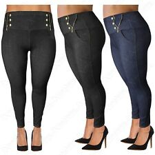 PLUS SIZE LADIES HIGH WAIST ZIP SIDE LEGGINGS WOMENS JEGGINGS DENIM JEAN LOOK