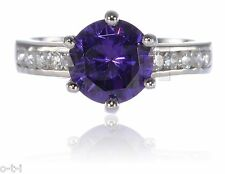 Round Purple CZ Amethyst 4.46 Ct Engagement Ring Solid Sterling Silver