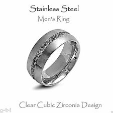 Men's Stainless Steel Ring, Clear Cubic Zirconia - 10mm Size 8 - 14