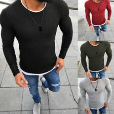 Fashion Mens O-Neck Warm Jumpers Thin Cardigans Knitwear Slim Fit Pullovers Tops