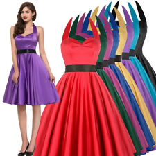 Sexy Womens 50s Retro Vintage Swing Pinup Evening Party Housewife Dance Dress
