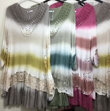 Ladies Italian Lagenlook Lace Dress Long Tunic Top Floral Layers Flares Crochet