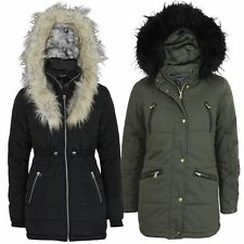 Womens Ladies Padded Quilted Faux Fur Hood Lined Parka Bubble Jacket Winter Coat