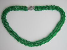 "1 or 3 Row, Green Jade Beads Necklace 17""-19"". New."