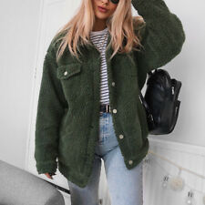 Fluffy Outerwear Coat Jackets Casual Ladies Women's Pocket Button Long Sleeve