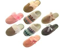 Womens Knitted Slippers Mules Fur Lined Girls Ladies Slipper Shoes Size UK 3 - 8