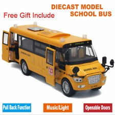Music Sound And LED Light Metal Alloy School Bus Model Open Doors Pull Back Car