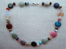 """Natural Multi-colour Agate or Other Gem Beaded Necklace - 18""""."""