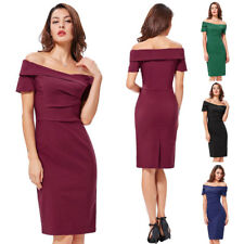 Dress Evening Wiggle Cocktail Casual Pencil Formal Retro Off Lady Vintage Party